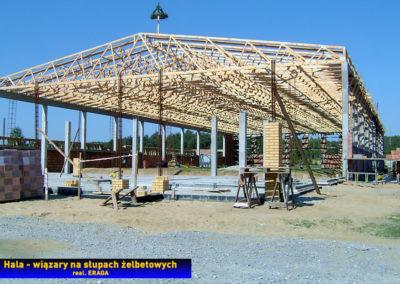 Dach na hali produkcyjnej - wiązary z płytkami kolczastymi