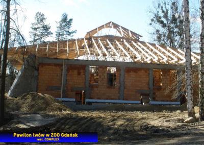 Dach z wiązarów - pawilon lwów w ZOO Gdańsk